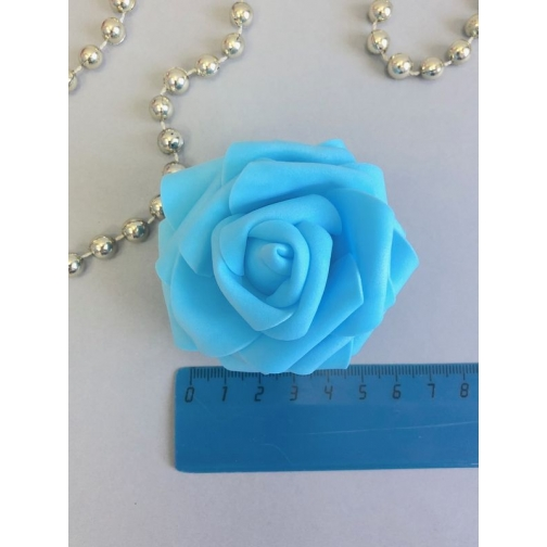Роза из латекса 60-70 мм, 1шт, голубая 36977826