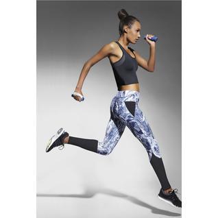 Легинсы для фитнеса Trixi с чёрными элементами синий с белым M Bas Bleu