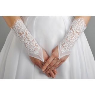 Перчатки свадебные №104, белый (короткие)