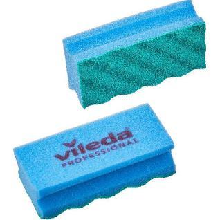 Губки для мытья посуды Vileda ПурАктив синяя зелёный абразив 10шт/уп 123118
