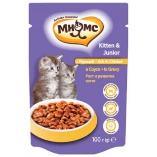 Мнямс Мнямс паучи для котят с курицей 100 г в соусе, рост и развитие котят