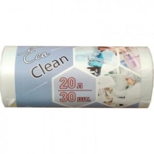 Мешки для мусора ПНД 20л 6мкм 42х50см 30шт/рул.,белые Ecoclean