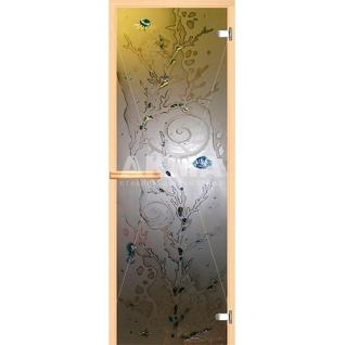 Дверь для бани АКМА АРТ с Фьюзингом КОРАЛЛ 7х19 (коробка осина или липа)