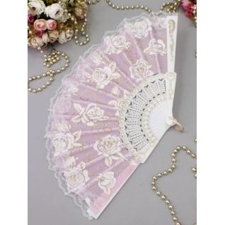 Веер №71 Розы, розовый/пластик, ткань/