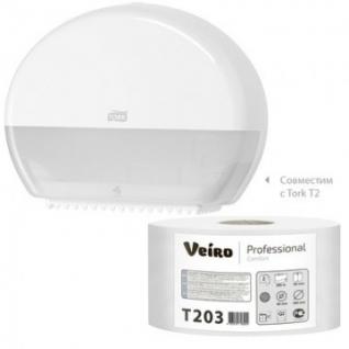 Бумага туалетная д/дисп Veiro Q2 Comf 2сл бел вторич 200м 12рул/уп T203