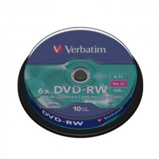 Носители информации Verbatim DVD-RW 4,7Gb 4х СB/10 43552
