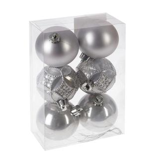 Украшение новогоднее Шар (набор из 6 шт) (серебро), D 6см 722913