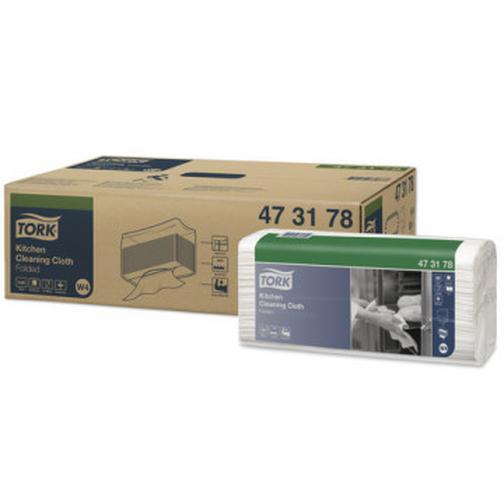 Материал протирочный нетканый Tork для кухни W4 80л/уп,белый 473178 37863189