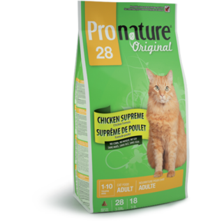 PRONATURE Корм Pronature 28 для взрослых кошек с курицей, 2.72 кг.