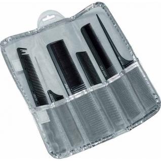 набор расчесок DEWAL DEWAL карбон, в серебристом чехле, черный 6 шт.