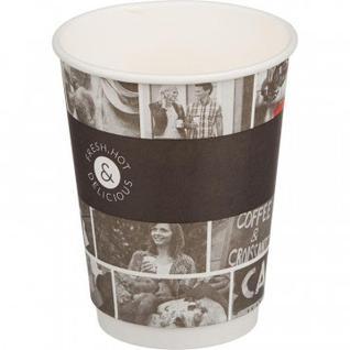 Стакан одноразовый бумажный 400мл Cafe Noir, Двухслойный DW16 18шт/уп