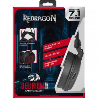 Гарнитура Redragon Delirium Pro объемный звук 7.1, 2м, USB, черно-красная