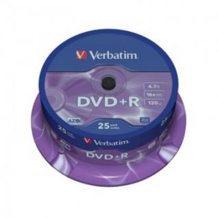 Носители информации Verbatim DVD+R 4,7GB 16х CB/25 43500