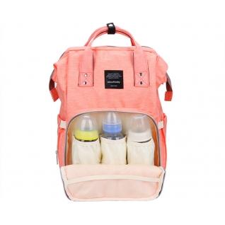 Сумка-рюкзак для мам с креплением и USB розовая no name