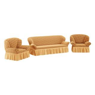 Комплект чехлов ПМ: Ми Текстиль Чехол на трехместный диван и два кресла жаккард с юбкой
