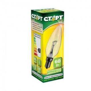 Электрическая лампа СТАРТ свеча/прозрачная 60W E14