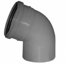 Отвод для трубы фановой серой, раструб под 110мм - 110мм, 45°
