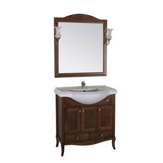 Зеркало Салерно 80 с полкой+светильники (Антикварный орех) ASB-Woodline