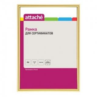 Рамка А4(21х30)ATTACHE золотая, пластиковый багет 10мм, настен.