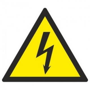Знак безопасности W08 Опасность поражения эл.током (плёнка,200х200)