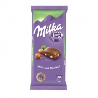 Шоколад Milka плитка молоч.с цельным.фунд. 90г