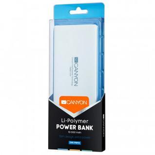 Внешний аккумулятор 10000 mAh, Li-Pol, 1xUSB, 2A, Canyon, белы,CNS-TPBP10W