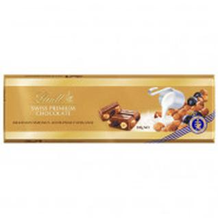 Шоколад Lindt Gold молочный с изюмом, цельным фундуком 300г