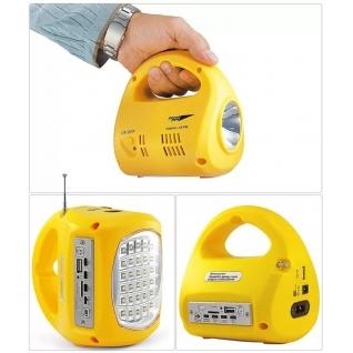Фонарь светодиодный аккумуляторный ЯРКИЙ ЛУЧ 2 режима работы FM-радио MP3 USB