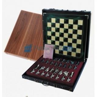 """Шахматы """"Греко-Римские"""" в кейсе (зеленая доска, фигуры золото-темная бронза), малые"""