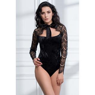 Бархатное боди Dream с длинными ажурными рукавами черный XL Body Dream 2181 Mia&Mia