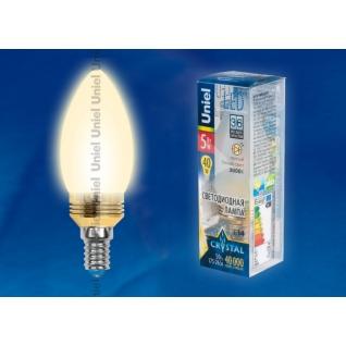 Uniel LED-C37P-5W/WW/E14/FR ALC02GD пластик