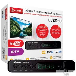 D-Color Ресивер DVB-T2 D-Color DC922HD Sunplus 1509C, DVB-T2 Пластик, RCA, HDMI, USB, WI Fi (Опция), LED-дисплей, Внешний БП (5V)