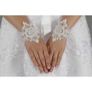 Перчатки свадебные №130, белый (короткие)