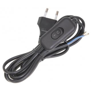 Шнур с электровилкой и выключателем Черный Эра1.8м