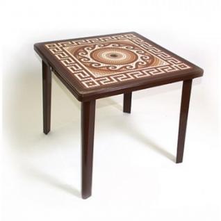 Стол пластиковый SPG_квадратный с деколем шоколад (Мозаика)