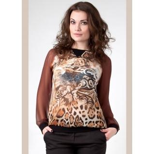 Шифоновая блуза с дли. рукавом 46 размер