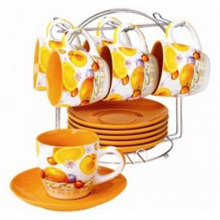 Сервиз чайный 6 чашек(200мл)+6 блюдец бело-цветной SXT M625-13