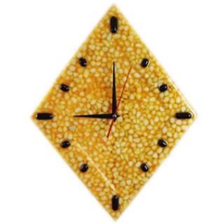 """Часы настенные""""Fondali"""" D-29 см Наполнитель мрамор белый в оранжевой смоле."""