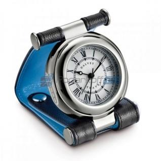 """Часы путешественника в кожаном чехле, черный/голубой, фактура """"caviar"""""""