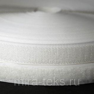 Липучка 25 мм ( лента контакт, велькро ) для одежды, цвет: белый Miratex