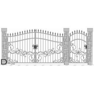 Кованые ворота калитка В-016 (2м x 3.5м)