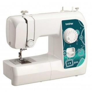 BROTHER LX 500, Швейная машина (электромеханическое управление; горизонтальный челнок; количество операций: 14; полуавтоматическая обработка петли; потайная строчка, эластичная строчка, эластичная потайная строчка; рукавная платформа)