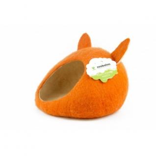 """Zoobaloo Домик- слипер """"Уютное гнездышко"""" с ушками (шерсть, форма круг, оранжевый)"""