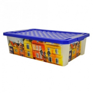 Ящик дляхранения Optima 30л на роликах, синий, с крышкой