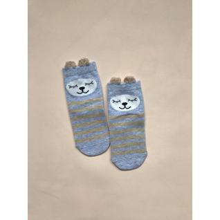 Ф002 носки детские бежевый голубой медведь полоска Фенна (12-18) (16)
