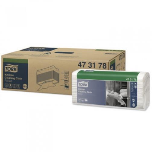 Материал протирочный нетканый Tork для кухни W4 80л/уп,белый 473178 37863189 2