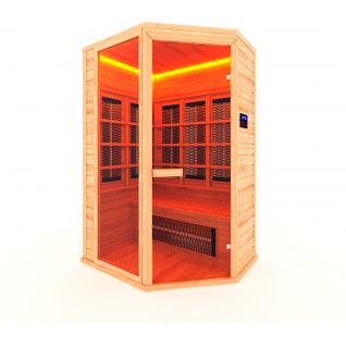 Инфракрасная сауна 2 - местная, угловая со стеклянной дверью и одной стеклянной вставкой