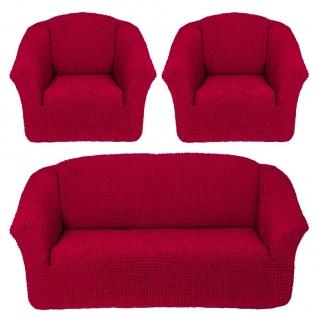 Чехлы Комфорт без оборки на Диван+2 Кресла, бордовый