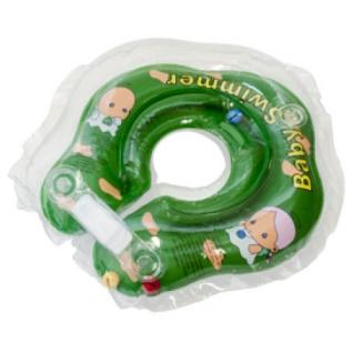 Круг для купания BabySwimmer ВS02G-B зеленый (полуцвет+внутри погремушка) 3-12кг