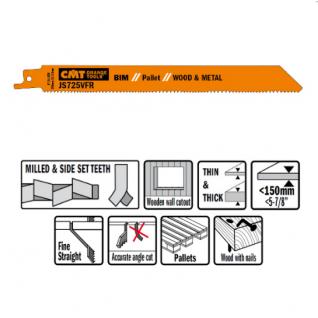 Пилки сабельные СМТ 5 штук для дерева и металла(BIM) 200x2,1-3,2x8-12TPI JS725VFR-5